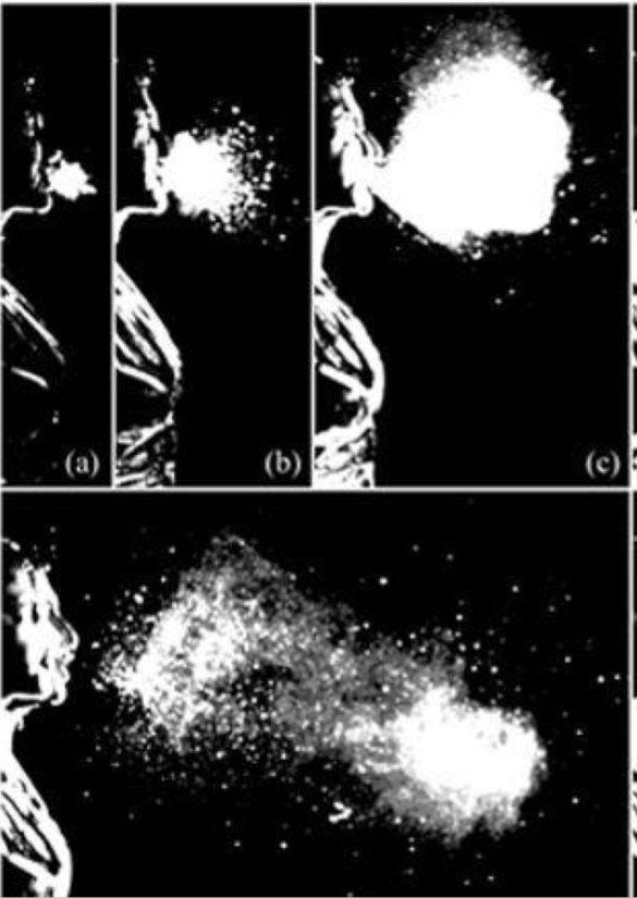 Capture d'un éternuement et du nuage de gouttelettes en suspension qui en résulte. (Bourouiba Bush 2014)
