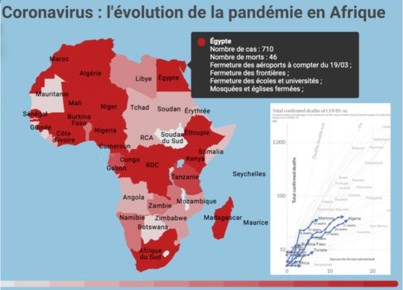 Evolution de la pandémie coronavirus Covid-19 en Afrique