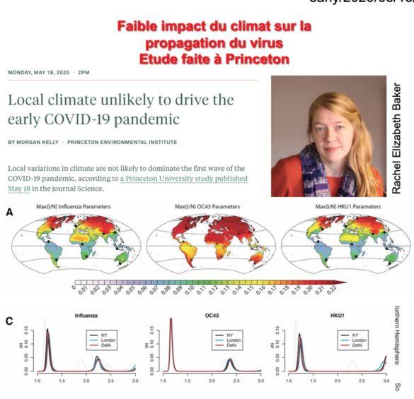 Faible impact du climat sur la propagation du virus (Etude Princeton)